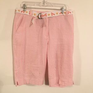 Kim Rogers Bermuda Shorts Pink & White Size 12